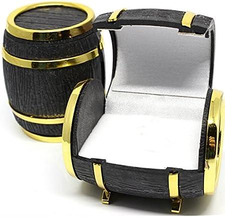 Generic nuevo 1PC creativo barriles de cerveza caja de almacenamiento de joyería para Lady & Mujer Negro de regalo Golden organizador de maquillaje Rangement caso 4,9cmx4.1cm