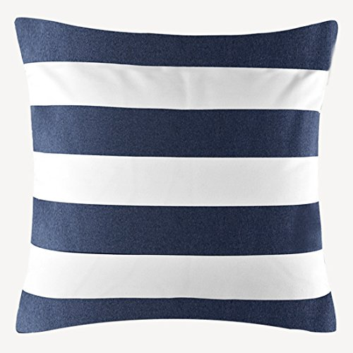 TAOSON Home Decorative Cotton Canvas Square Throw Pillow Cover Cushion Case Stripe Toss Pillowcase with Hidden Zipper Closure Multiple Colors (18