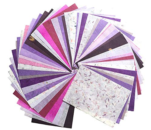 Purple Mulberry Paper - WADSUWAN SHOP 60 Sheets Mixed Purple A4 Mulberry Paper Sheet Design Craft Hand Made Art Tissue Japan Origami Washi Wholesale Bulk Sale Unryu Suppliers Thailand Products Card Making