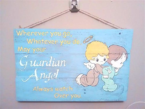 Amazoncom Guardian Angel Wooden Plaque Quote Sign Nursery Decor
