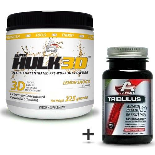 Athlet savoir Hulk3d pré-séance d'entraînement en poudre 225 gr Citron Shock-F ocus-Free Tribulus