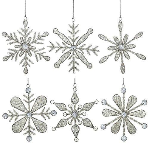 Snowflake Glass Christmas Ornaments - ShalinIndia Set of 6 Handmade Snowflake Iron and Glass Pendant Christmas Ornaments, 6 Inches