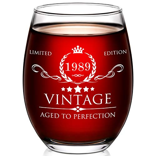 1989 30th Birthday Gifts for Women and Men Wine Glass - 30 Year Old Birthday Gifts, Party Favors, Decorations for Him or Her - Vintage Funny Anniversary Gift Ideas for Mom, Dad, Husband, Wife - 15oz