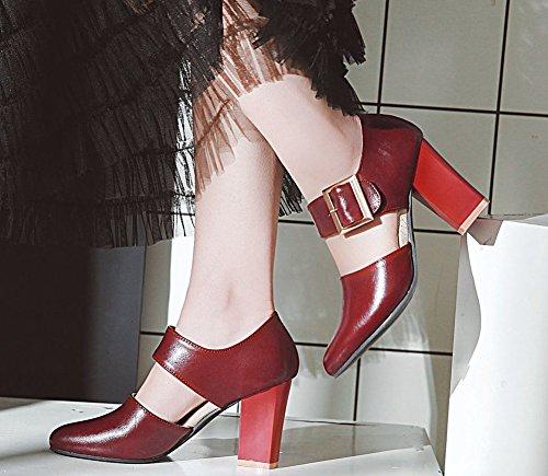 À Boucle Haut Fermeture 8 Talon Mode Rouge Femme Aisun 5cm Escarpins fwOxIEt