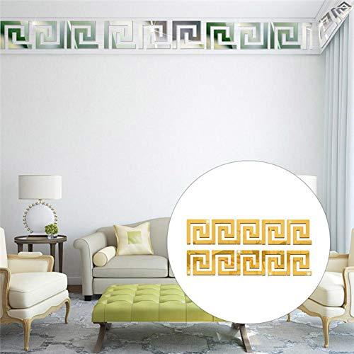 10cm10cm Acrylic Mirror Effect Wall Sticker Geometric Greek Feather Pattern DIY Wall Art Decor Sticker for Bathroom Home Office Ceiling Stickers, 10PCS