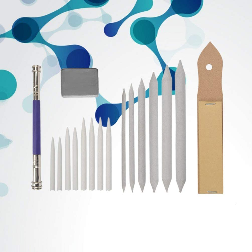 Milisten Blending Stumps and Tortillions Sandpaper Pencils Extender Pencil Sharpener Pointer Art Blenders with Kneaded Eraser for Student Sketch Drawing Tools