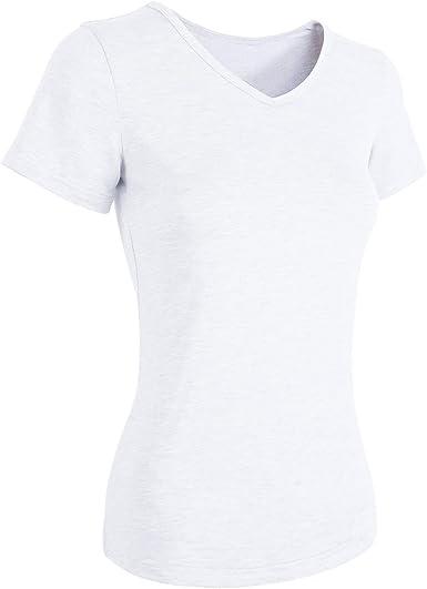 TAIPOVE Camisetas para Mujer Camisetas Básicas de Algodón Cuello ...