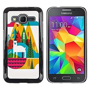 TopCaseStore / la caja del caucho duro de la cubierta de protección de la piel - Llama Mountains Colorful Cubism Art - Samsung Galaxy Core Prime SM-G360