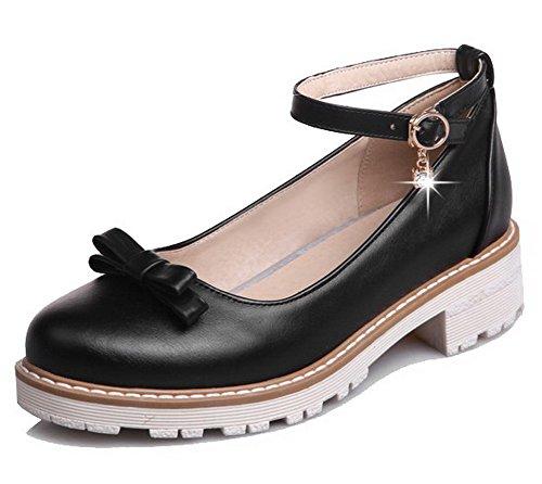 AmoonyFashion Womens PU Round-Toe Low-Heels Buckle Solid Pumps-Shoes Black J4Ncv0G3Xn
