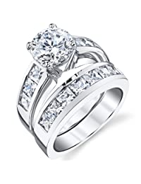 Metal Masters Co.® Sterling Silver Bridal Set Engagement Wedding Ring Bands with Round and Princess Cut Cubic Zirconia