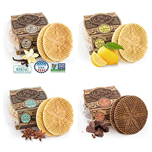 Bella Lucia Gluten-Free, Nut Free, Soy Free Non-GMO Verified, Pizzelle Cookies 6 ounce (pack of 4), Variety Pack, Vanilla, Anise, Lemon, and Chocolate by Bella Lucia