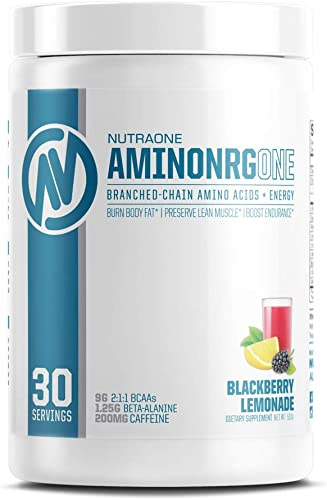AminoNRGOne BCAA Powder Supplement with Caffeine by NutraOne Branched Chain Amino Acids to Help Fuel and Recover BlackBerry Lemonade – 30 Servings