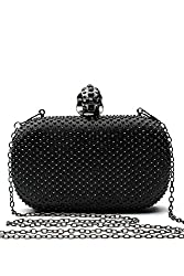 Women Clutch Purse Wallet Hard Case Evening Bag Studded Handbag With Chain Strap (silver)