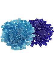 500 Piece Square Shape Glass Mosaic Tiles Tessera for Art DIY Crafts Blue 10x10mm