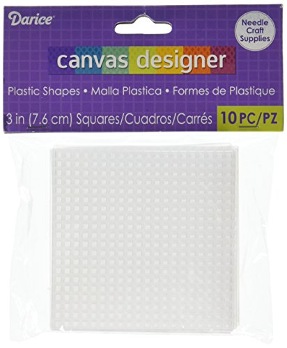 Darice 10-Piece Square Plastic Canvas Shape, 3 by 3-Inch, -
