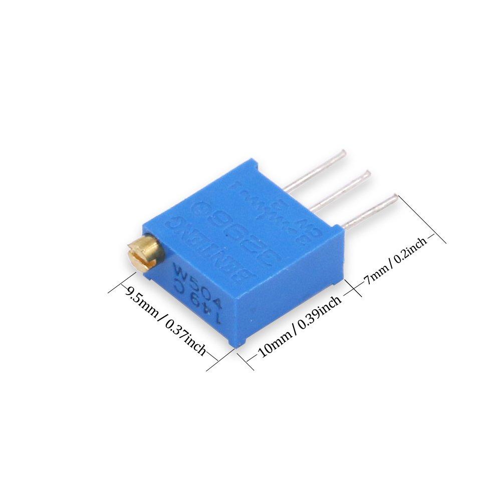 60Pcs 3296W 100 ohm to 500K ohm Trim Pot Trimmer Potentiometer Kit 12 Value