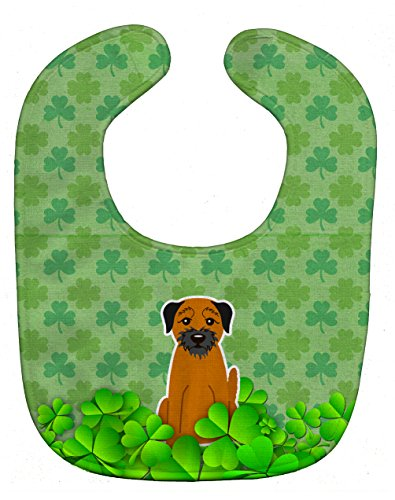 Patricks Day Bib - Caroline's Treasures BB6180BIB Shamrocks Baby Bib, Green Border Terrier, Large