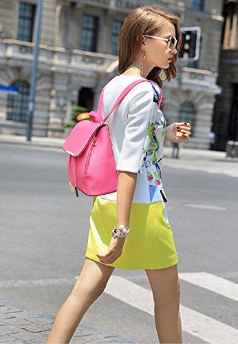 NICOLE&DORIS Moda Mujer Bolsa De Escuela De La Escuela Mochila De Viajes Mochila Mochila Impermeable PU duradero Mini Negro Rosa Roja