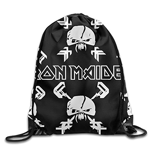 FOODE England Band Logo Angry Skull Drawstring Backpack Sack Bag