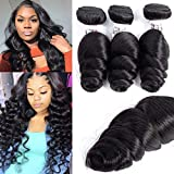 Anknia Brazilian Virgin Hair Loose Wave 3 Bundles Deals Good Cheap Mink Unprocessed Wet And Wavy Human Hair Bundles Weave Wefts Remy Hair Extensions Natural Black Color 10 12 14 Inch