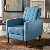 Cheap GDF Studio 300597 Macedonia Mid Century Modern Tufted Back Muted Blue Fabric Recliner