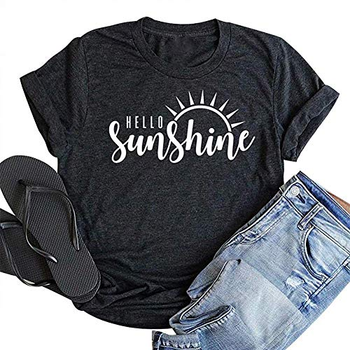 (Hello Sunshine Shirt Top Women Summer Short Sleeve Graphic Print T Shirt Nature Shirt Vacation Shirt Size L (Gray))