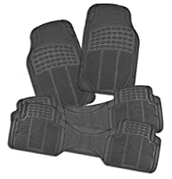 Zone Tech All Weather Rubber Semi Pattern Car Interior Floor Mats - 4-Piece Set Gray Heavy Duty Car Interior Floor Mats