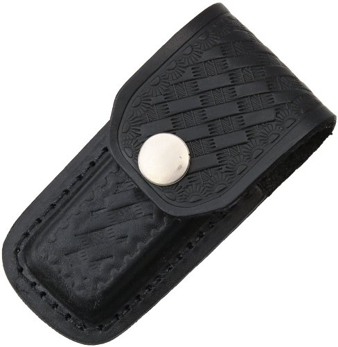 Sheath Folding Knife Sheath  Black Leather W Embossed Basketweave 3 3 5In Closed Sh1142