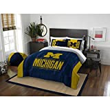 3pc NCAA University Michigan Wolverines Comforter Full Queen Set, Yellow, Unisex, Team Spirit, Fan Merchandise, Sports Patterned Bedding, Blue, Team Logo, College Basket Ball Themed