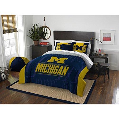 3pc NCAA University Michigan Wolverines Comforter Full Queen Set, Yellow, Unisex, Team Spirit, Fan Merchandise, Sports Patterned Bedding, Blue, Team Logo, College Basket Ball Themed