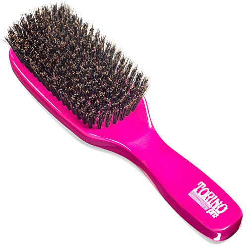 Torino Pro Medium Hard Wave Brush By Brush King - #1860-9 Row Extra Long Bristles- Medium hard waves brush - Great pull - Great for connections - for 360 waves