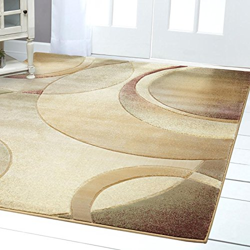 Home Dynamix Evolution Emile Area Rug   Contemporary Style Rug   Modern Abstract Design   Soft And Cozy Texture   Cream  Beige 52 X 76