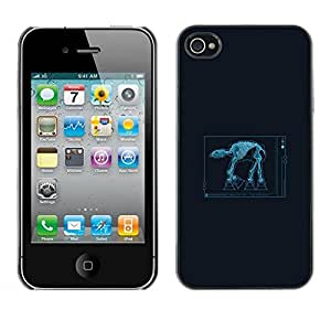 Caucho caso de Shell duro de la cubierta de accesorios de protección BY RAYDREAMMM - iPhone 4 / 4S - Estrella Walker X Ray