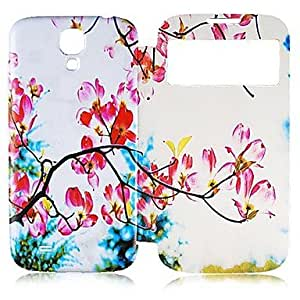 PEACH-Wintersweet Pattern Full Body Case with Window for Samsung Galaxy S4 I9500