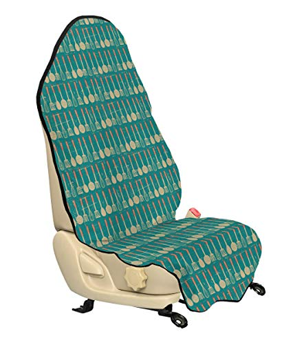- Lunarable Vintage Car Seat Hoody, Retro Style Hanging Kitchen Utensils of Whisk Spatulas Ladle Repeating Design, Car and Truck Seat Cover Protector with Nonslip Backing Universal Fit, Camel Rust Teal