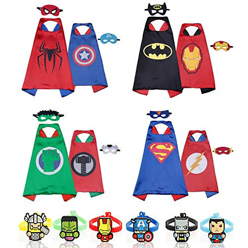 RioRand Dress Up Costumes Double-Sided Design 4 Satin Capes with 8 Felt Masks and 6 Wristbands