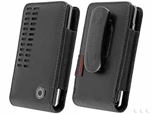 Blackberry Q10 Vertical Bergamo Slide In Leather Case Pouch with Built In Magnetic Flap and 2 Belt Clips (Spring Belt Clip