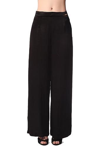Q2 Mujer Pantalones de pernera ancha en raso brillo negro