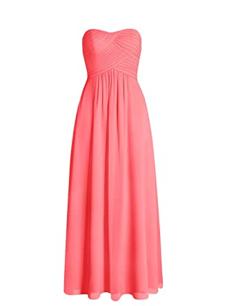 Edressy Sweetheart Long Bridesmaid Dresses Chiffon Prom Dress Plus