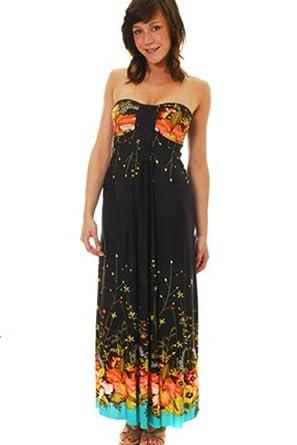 71c2b778b408 Lora Dora Womens Maxi Dress Full Length Floral Strapless Summer Dress Ladies  Size UK 14-16: Amazon.co.uk: Clothing