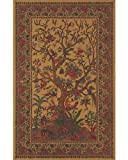 Brown Tree of Life Indian Bedspread, Double Size