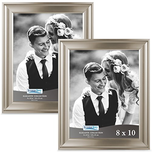 re Frames (8 x 10, Set of 2, Champagne Finish) Photo Frame, Wall Mount or Table Top, Black Velvet Back, Landscape as 10x8 Picture Frame or Portrait as 8x10, Elegante Collection ()