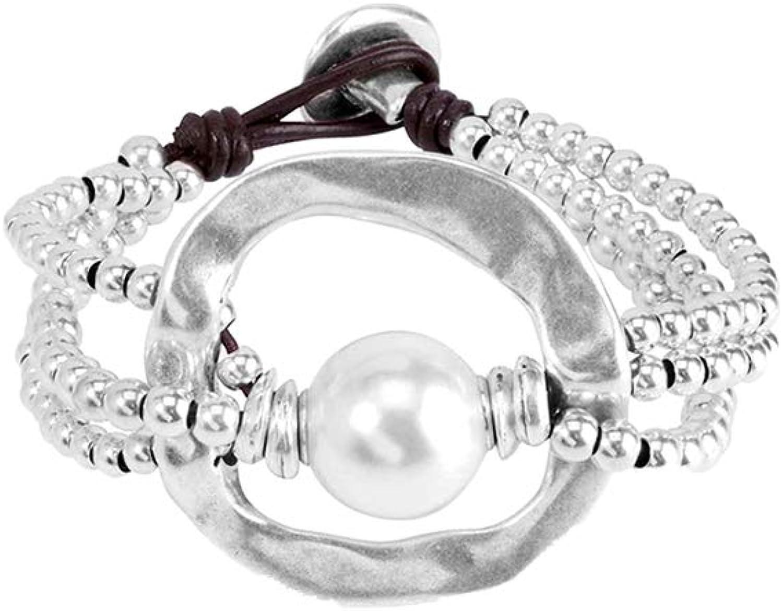 UNO de 50Pulsera de Mujer Classics bañada Piel Perla Color Blanco 19cm–pul1130mtlbpl0m