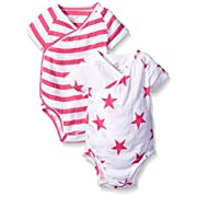 aden + anais Baby Short Sleeve Kimono Body Suit Two Pack, Pink Blazer Stripe/Pink Star, 6-9 Months