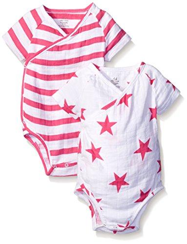 aden + anais Baby Short Sleeve Kimono Body Suit Two Pack, Pink Blazer Stripe/Pink Star, 6-9 (Aden Stripe)