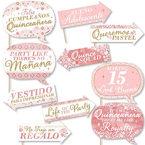 Funny Mis Quince Anos - Quinceanera Sweet 15 Birthday Party Photo Booth Props Kit - 10 Piece]()