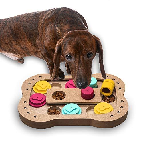 Andiker Shuffle Bone Puzzle Toy,Intelligence Training Feeder Dispenser, Pet Puzzle Treat Toy Can Improve Dog's Intelligence (Bone)