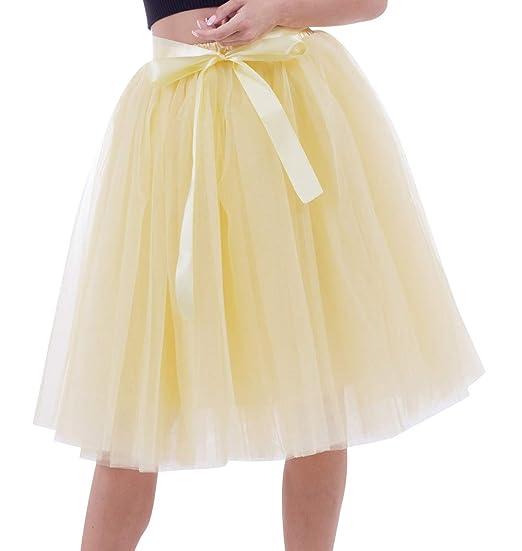 Faldas de Tul Falda Tutu Mujer Falda Tul Midi 7 Capas Disfraz ...