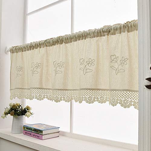ZHH Handmade Cotton Linen Kitchen Curtain Flower Pattern, Crochet Hollow Hem Lace Window Valance Cafe Curtain, 57 x 23 Inch (1 Panel) Beige (Curtain Lace Cotton)