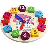 Legno Giocattoli Ordinamento Orologio per Classificare Forme Orologio in Legno Figura con Numeri e Forme Primi Educazione Puzzle Giocattoli Educativi del Bambino